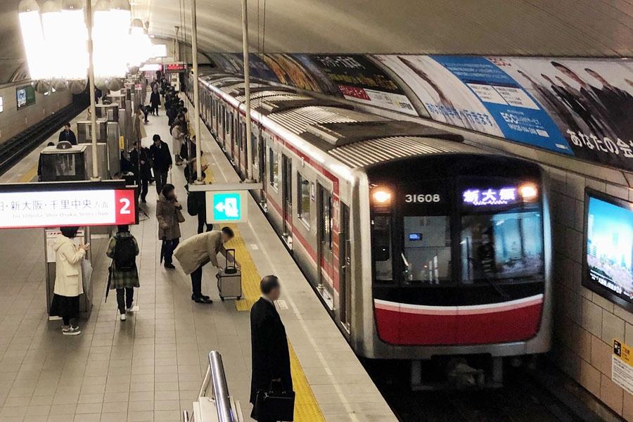終電延長の実証実験をおこなう大阪メトロ・御堂筋線。写真は淀屋橋駅の様子