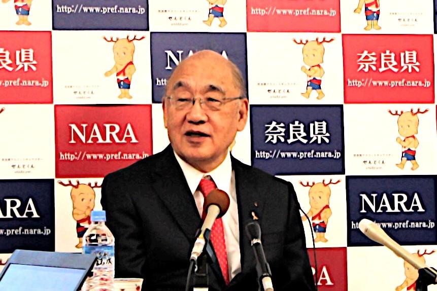「今までまったく手をつけなかったマーケットにこれから参入できる」と期待した荒井知事(1月6日・奈良県庁)