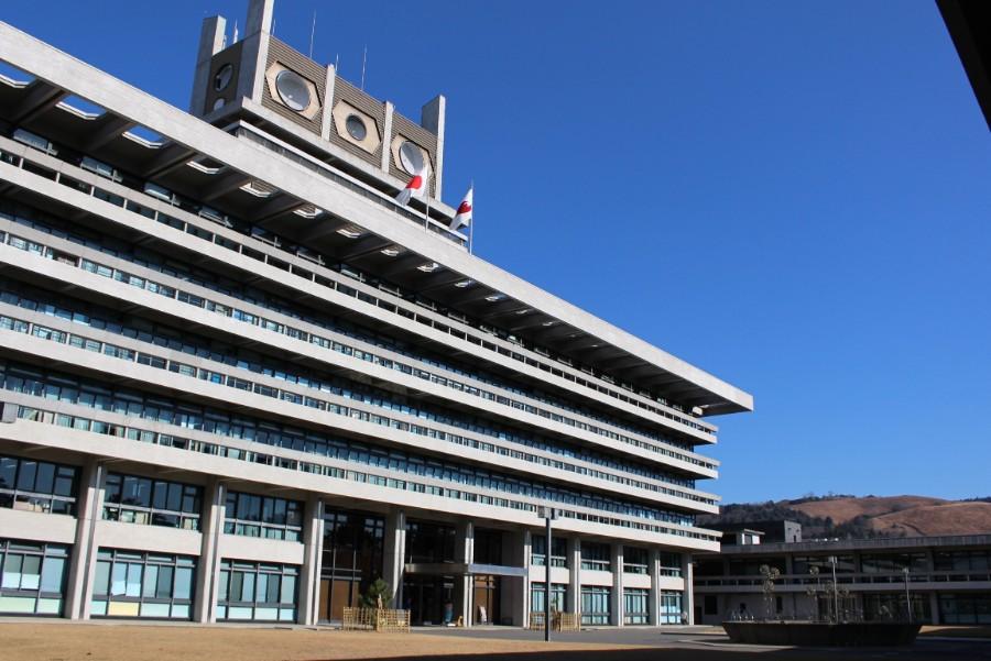 若草山をバックにした奈良県庁(1月6日)