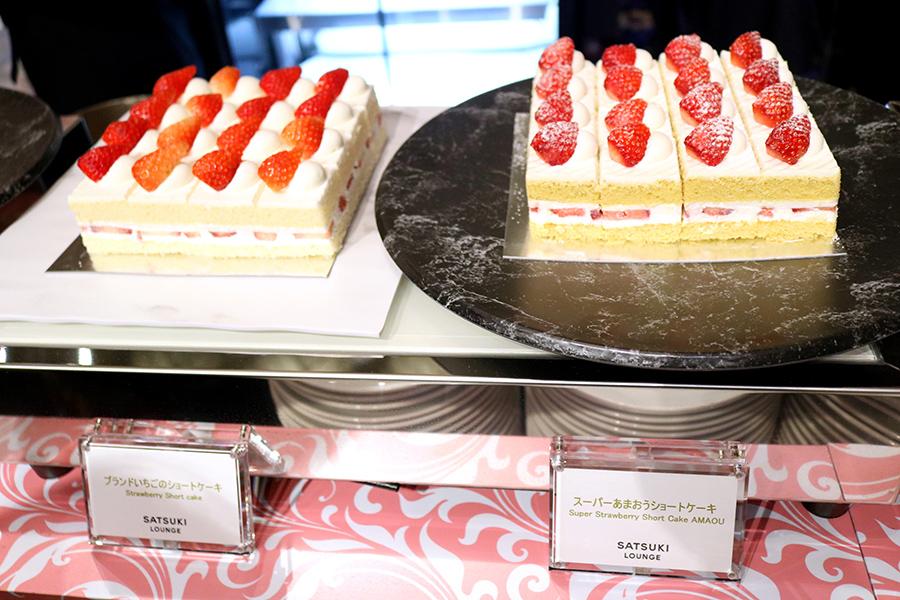 旬のいちごを使用したいちごのショートケーキと、素材と技法にこだわったスーパーあまおうショートケーキ。2種類の食べ比べが楽しめる