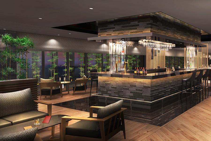 夜は軽食やカクテルが楽し絵めるバーとして営業するレストラン