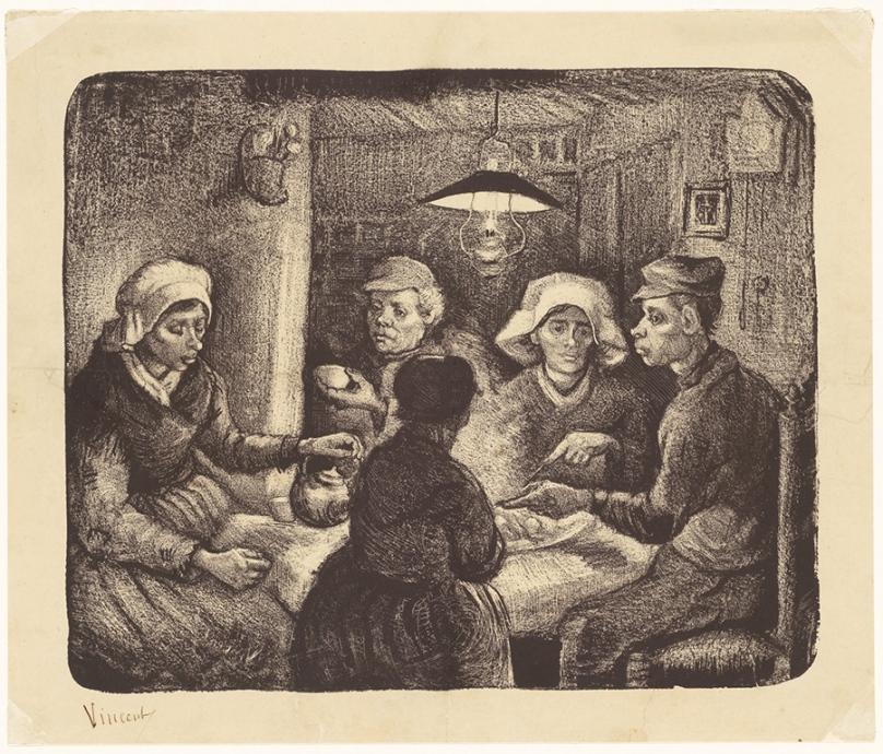 フィンセント・ファン・ゴッホ《ジャガイモを食べる人々》 1885年4-5月 リトグラフ(インク・紙) 26.4×32.1cm ハーグ美術館 ©Kunstmuseum Den Haag