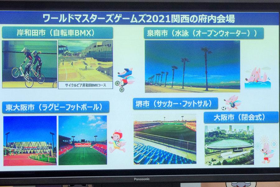 定例会見のスライドより。大阪府内で開催されるBMX、ラグビーフットボール、サッカー・フットサル、水泳・オープンウォーター(1月8日・大阪府庁)