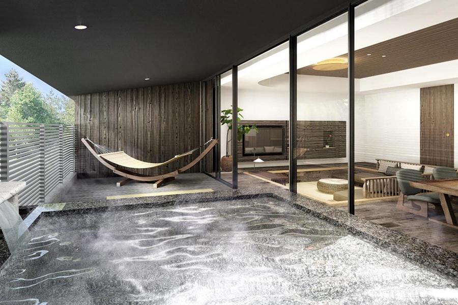 各部屋には、天然温泉の露天風呂