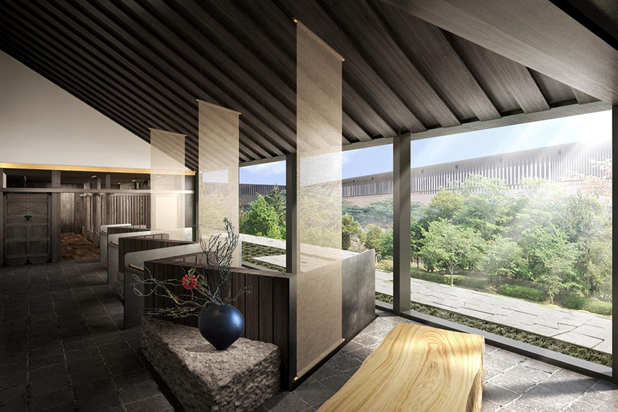 古都奈良をイメージした、大和張り、奈良格子を取り入れたデザインに