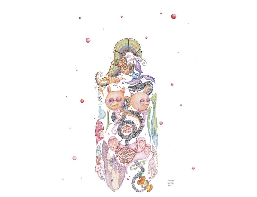 さまざまな生物を組み合わせて人体像を描き、藤井は「家中に『ポケモン』が1000匹くらいいたんです」と、子どもたちの好きなものが作品づくりに影響したことを語った。「楽園追放 妖精の崩壊(EVE)」 2001年 95×70cm 色鉛筆・紙