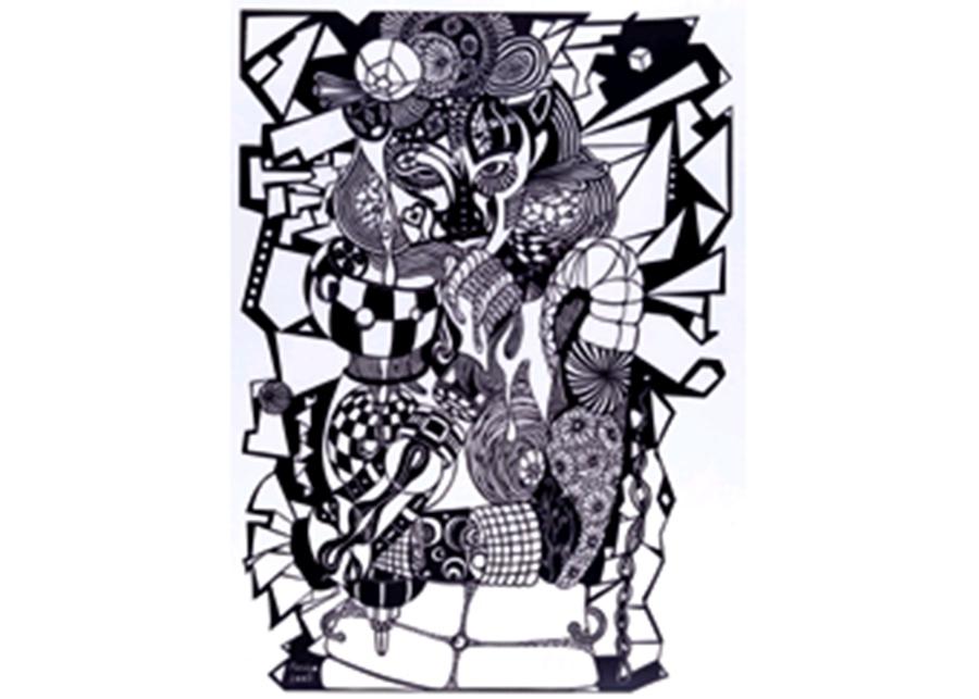 「AQUARIUS」 2002年 69×52cm 紙・切り絵