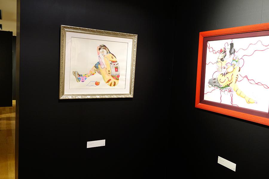 水彩で描いた作品「セラミックガール」(左)など