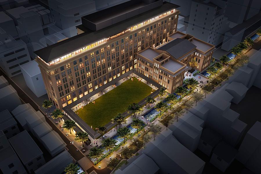 上部が8階建ての新棟に