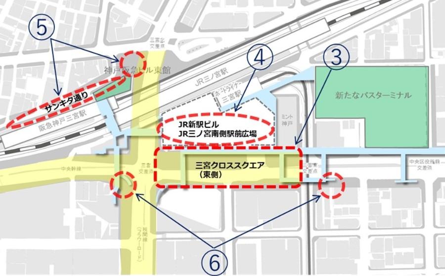 三宮駅前再整備のスケジュール。歩行者や公共交通優先の「三宮クロススクエア」が目玉となりそうだ