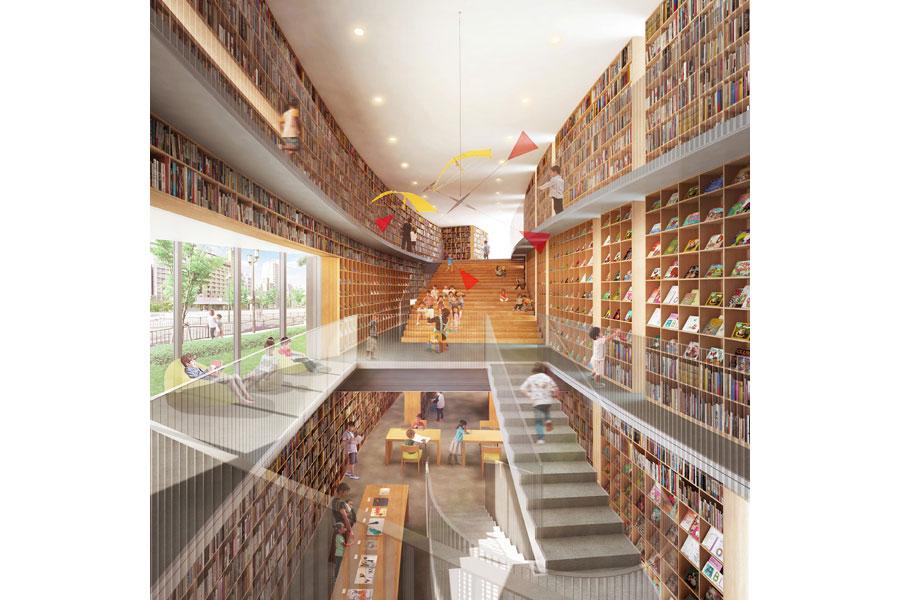 「こども本の森」館内のイメージ 提供:大阪市