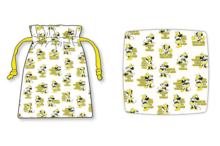 左から「サテン巾着」(1200円・税別)、「サテンクッションカバー」(3000円・税別)