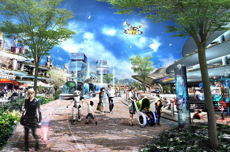 斬新なデザインの建築物による新たな都市景観 提供:大阪府・大阪市IR推進局