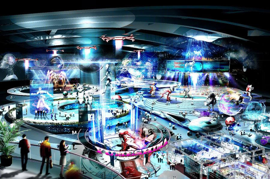 『大阪IR基本構想(案)』で描かれたビジョン。イノベーションにつながる最先端技術を発信する展示等施設 提供:大阪府・大阪市IR推進局
