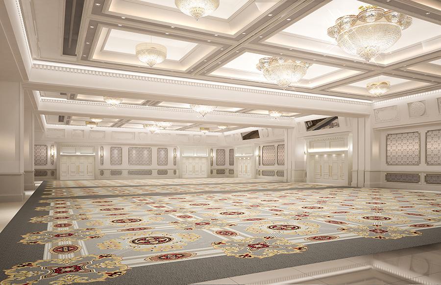 903平方メートルある大宴会場の「宝寿」。ほかに中宴会場1つ、小宴会場2つを備える