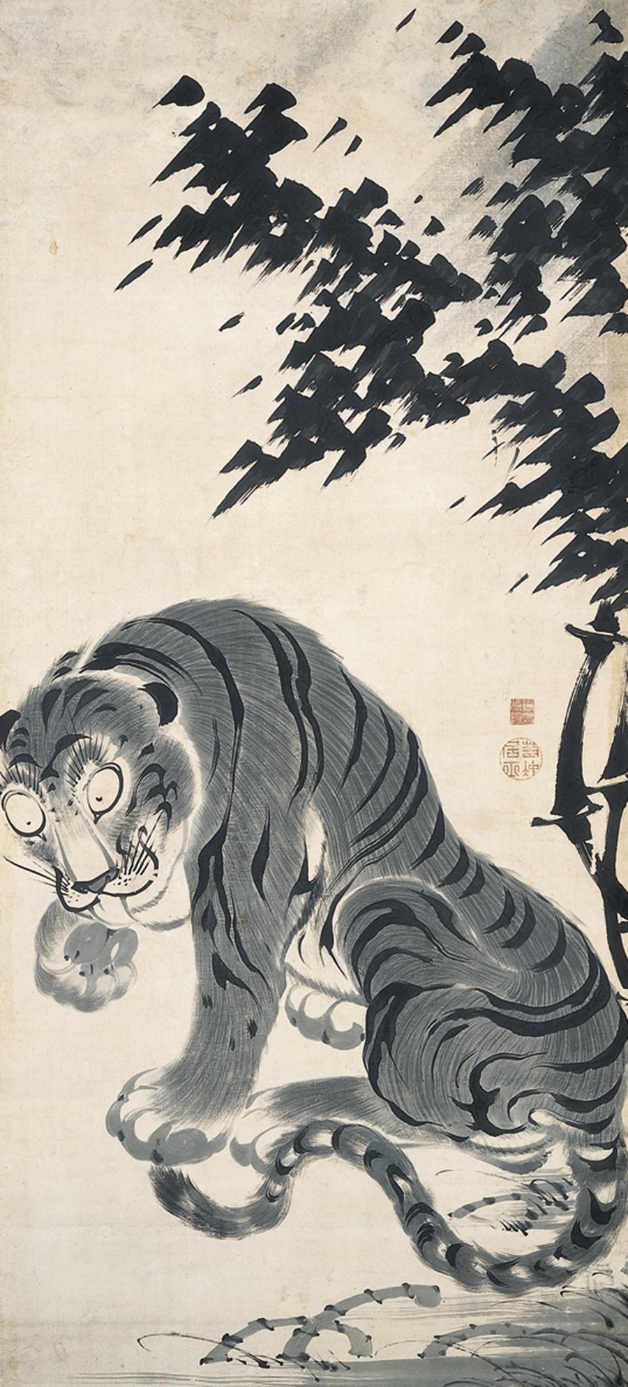 「竹虎図」(左幅) 鹿苑寺蔵