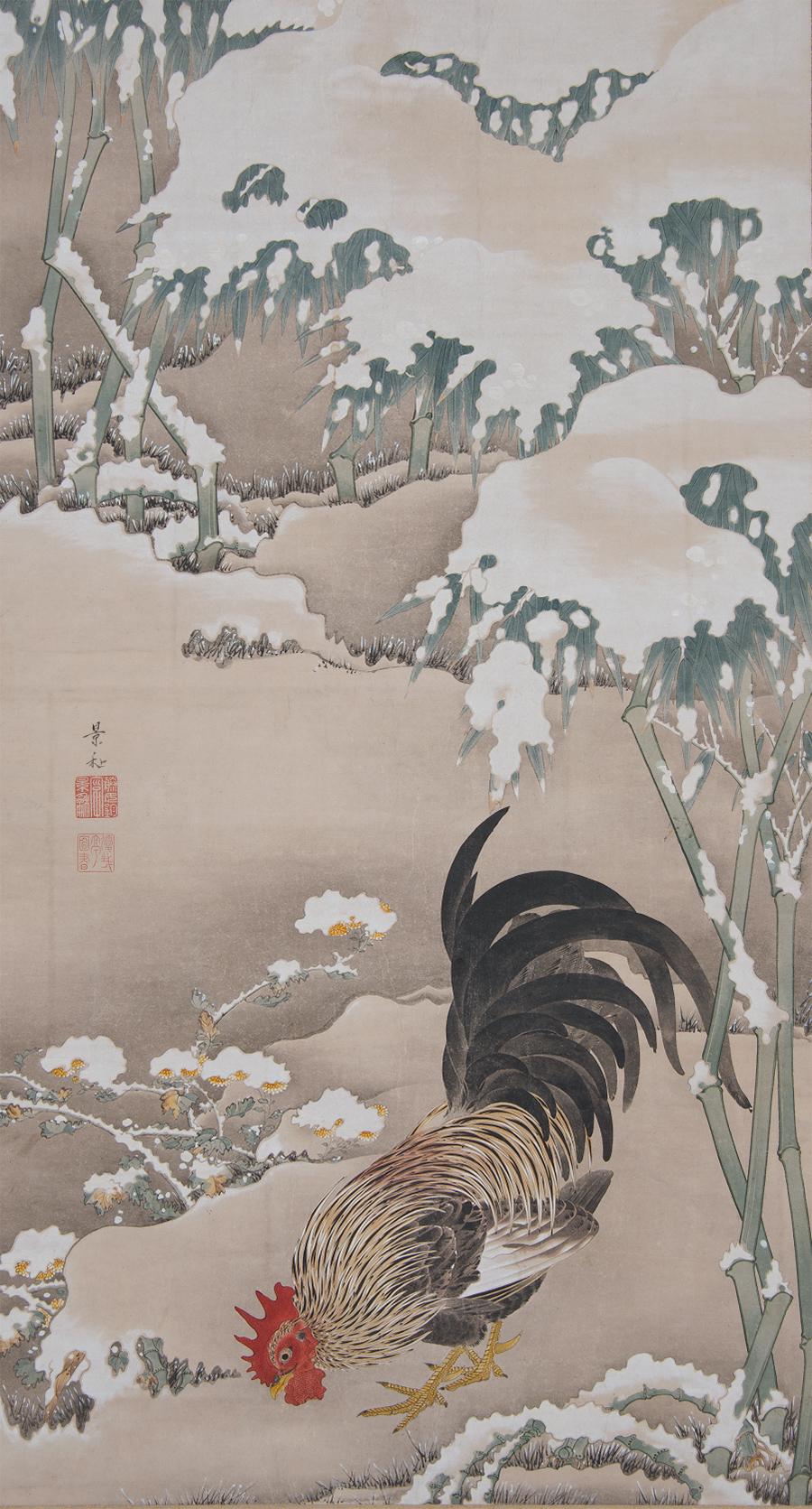 「雪中雄鶏図」 細見美術館蔵