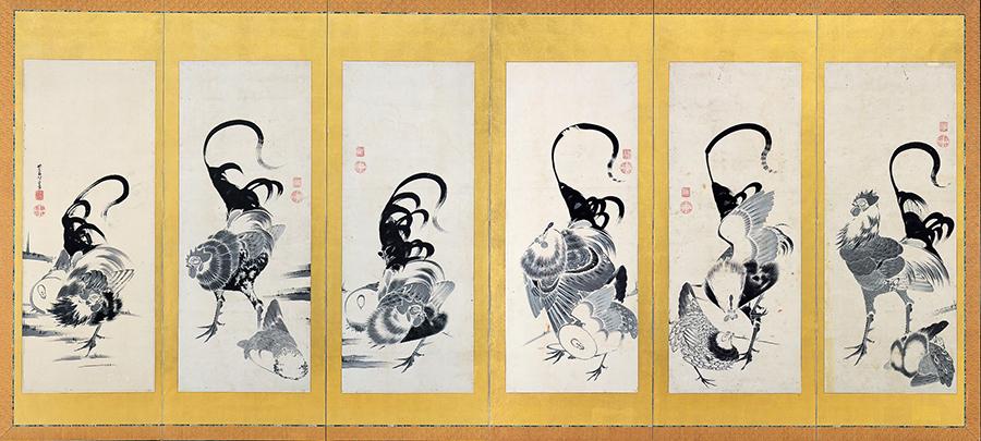 伊藤若冲 郡鶏図押絵貼屏風(左)1797年