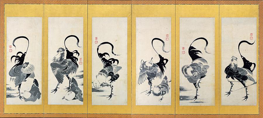 伊藤若冲 郡鶏図押絵貼屏風(右)1797年