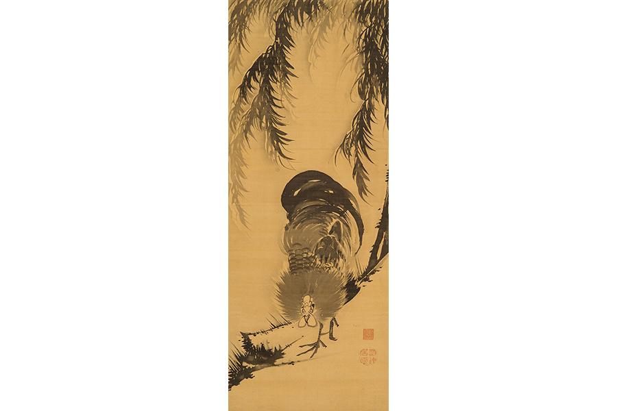 伊藤若冲 柳に鶏図 18世紀後半