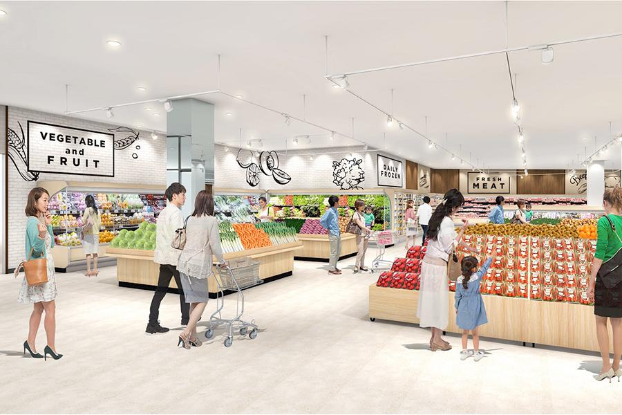 スーパーマーケットでは地場の食材のほか、時短のための商品も