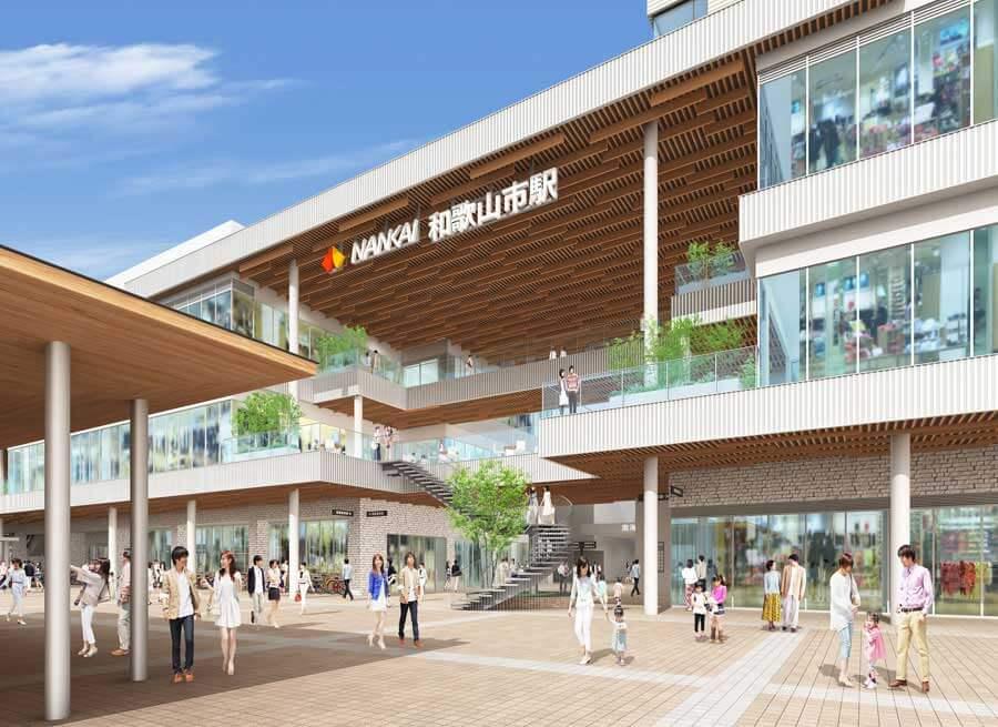 1・2階部分の外観に紀州材を用いるなど「和歌山の新しい玄関口」をイメージしたデザインの複合施設「キーノ和歌山」