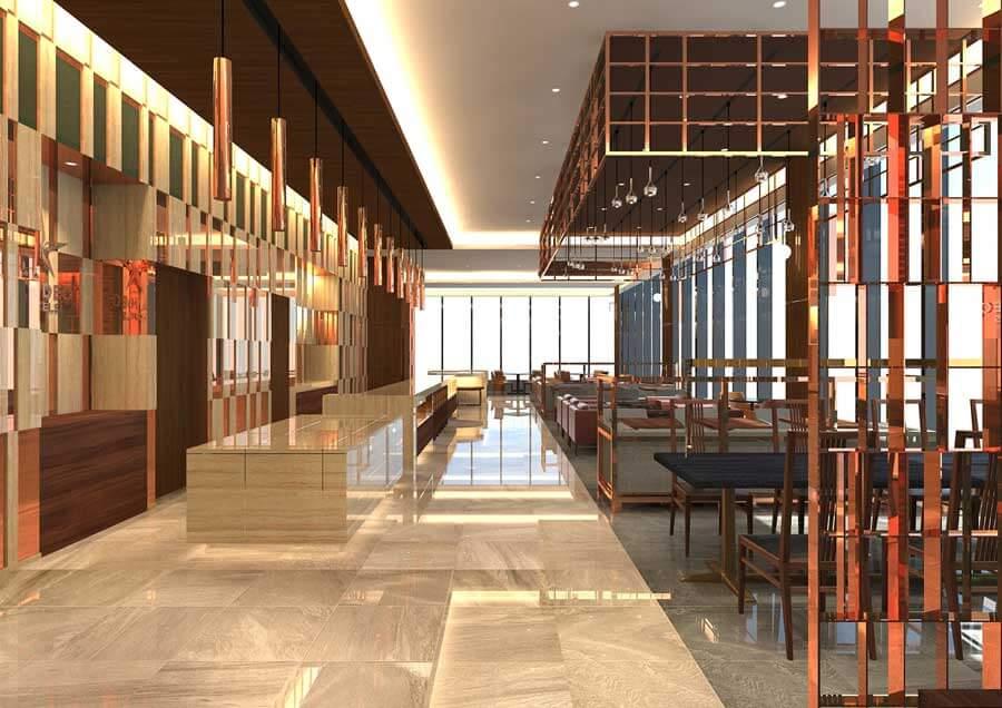ビジネスホテルの価格帯でシティホテル並みのラグジュアリーを目指すという「カンデオホテルズ和歌山」内のレストランイメージ