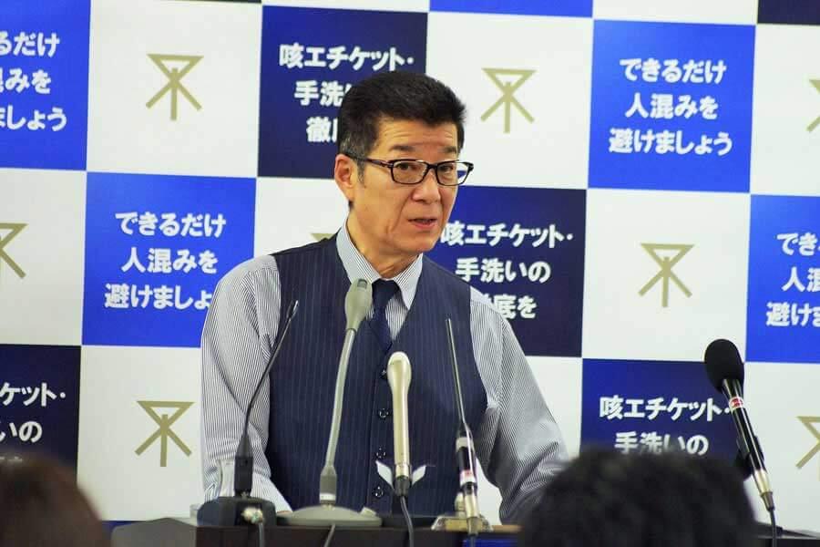 定例会見をおこなった松井一郎市長(3月12日・大阪市役所)