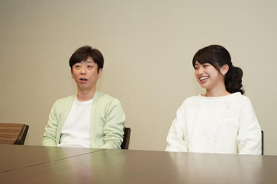 左から、フットボールアワー・後藤輝基、カンテレアナウンサーの舘山聖奈