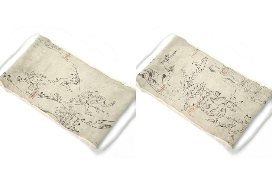 マスク製作生地キット 接結天竺(ニット)「鳥獣戯画セット」1100円