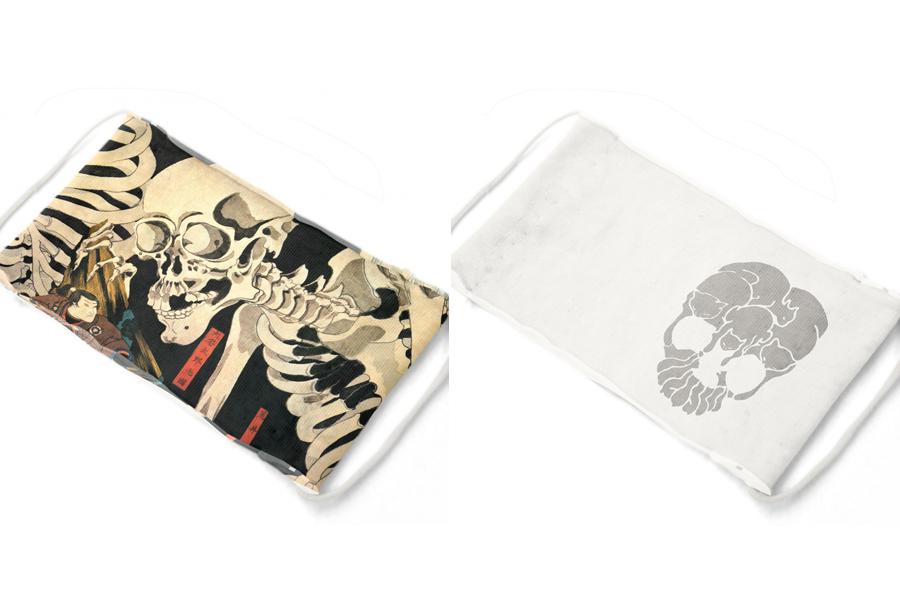 マスク製作生地キット 接結天竺(ニット)「国芳どくろセット」1100円