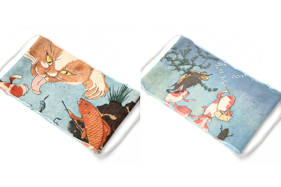 マスク製作生地キット 接結天竺(ニット)「国芳金魚セット」1100円