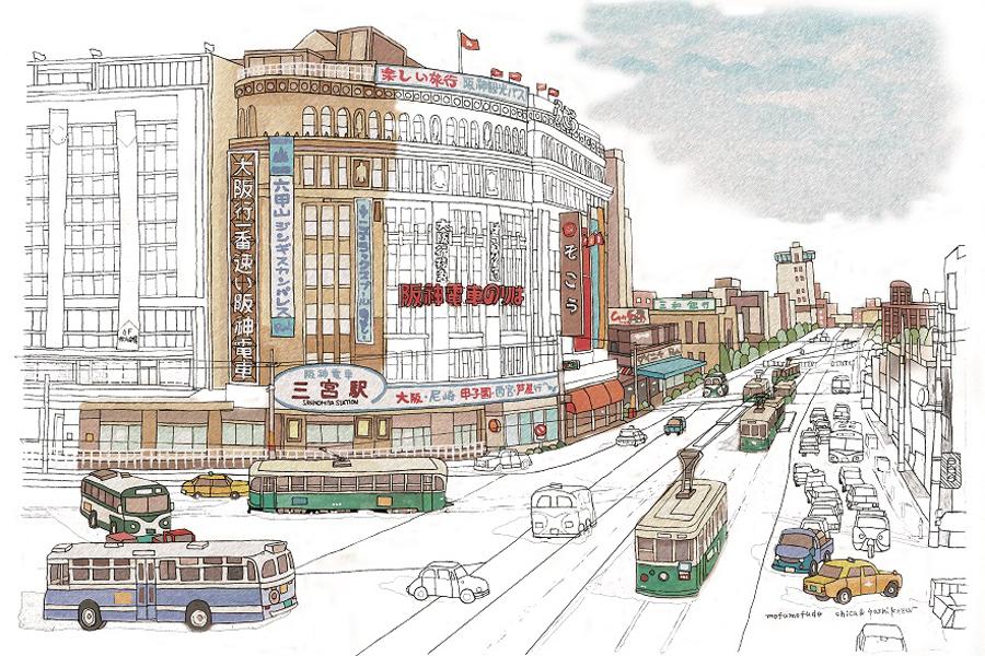 「神戸三宮駅(そごう前)」のぬり絵。途中まで彩色した見本