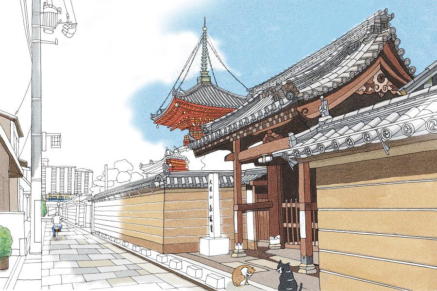 「尼崎駅(寺町)」のぬり絵。途中まで彩色した見本