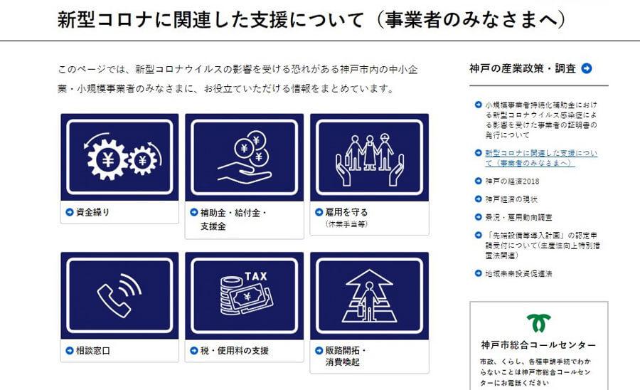 「新型コロナ対策神戸市支援総合サイト」の事業者向けのページ。困りごとに応じて支援策がまとめられている(神戸市サイトより