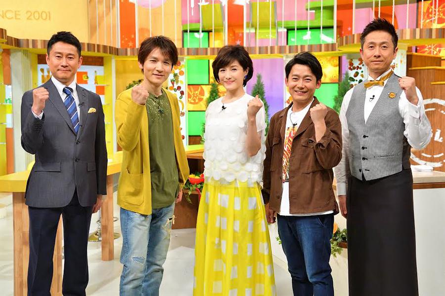 左から、河田直也アナ、長野博(V6)、水野真紀、ロザン(菅、宇治原)