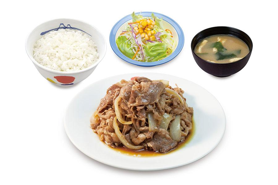 「お肉どっさりグルメセット」930円(ライス・みそ汁・生野菜付き)