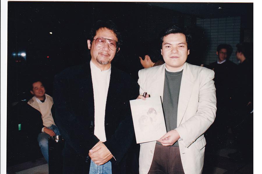 1992年『おおさか映画祭』にて、大林宣彦監督(左)と春岡勇二