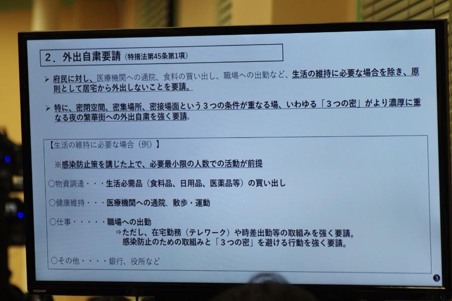 記者会見でのスライドより「外出自粛要請」(4月7日・大阪府庁)