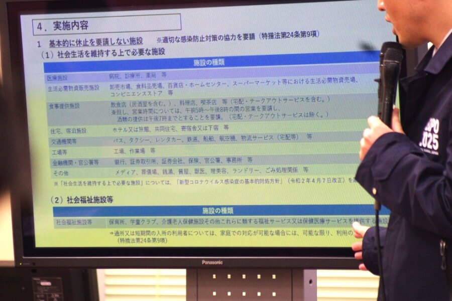 会見のスライドより、「基本的に休止を要請しない施設」(4月13日・大阪府庁)