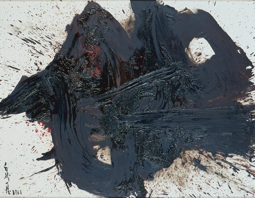 白髪一雄《貞宗》1961年 90×116.3cm 油彩・カンヴァス 京都工芸繊維大学美術工芸資料館蔵