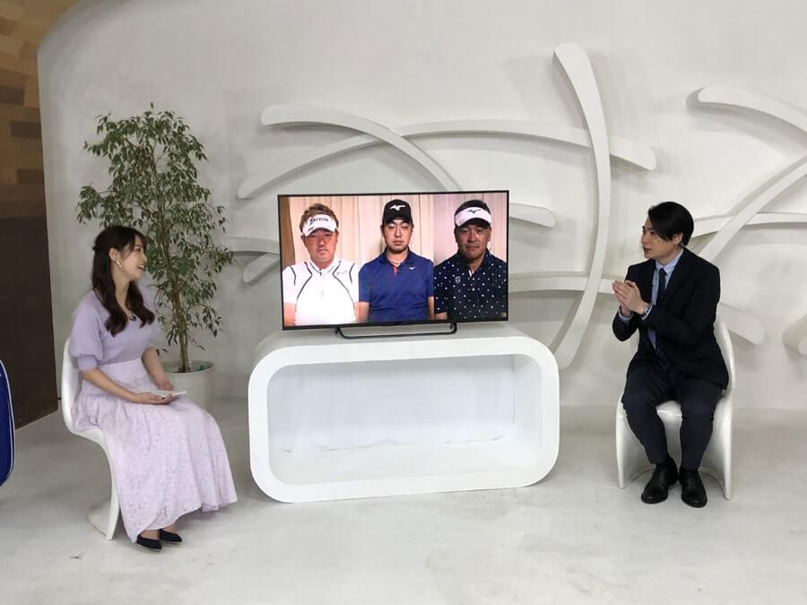 左から鷲見玲奈、リモート出演の秋吉翔太・時松隆光・手嶋多一、吉村崇