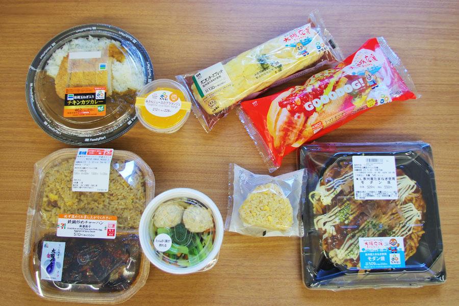 左上2つは「ファミリーマート」の2品、左下2つが「セブンイレブン」の2品、右側が「ローソン」の4品。いずれも大阪産(もん)の食材を使用している(5月27日・大阪府庁)