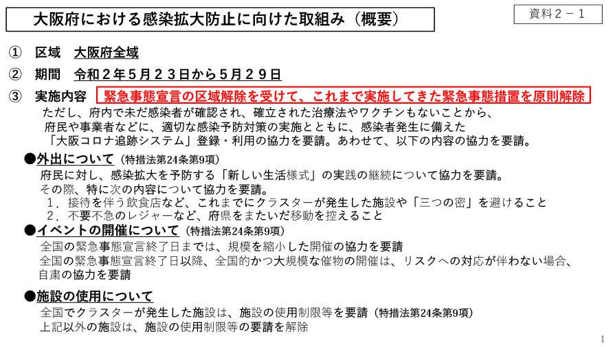府の資料より「大阪府における感染拡大防止に向けた取組み(概要)」1