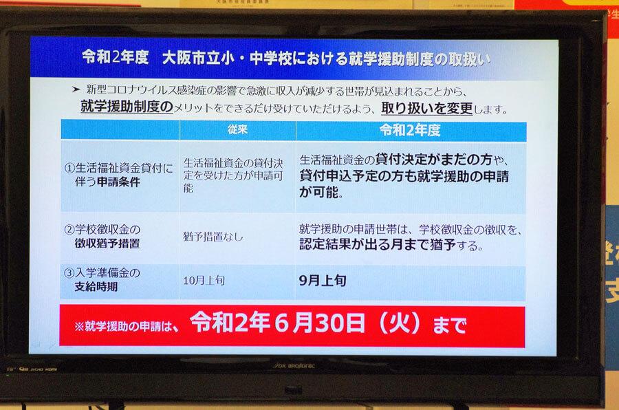 会見のフリップより「令和2年度 大阪市立小・中学校における就学援助制度の取扱い」(5月29日・大阪市役所)