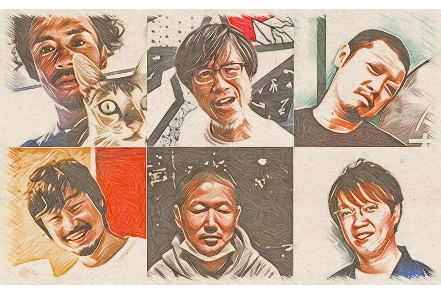 上段左から、西岡猛(Live Space CONPASS)、加藤鶴一(堺ファンダンゴ)、風次(MUSIC ZOO KOBE 太陽と虎)、下段左から、吉條壽記(心斎橋 Pangea)、行貞利晃(京都MUSE)、キイリョウタ(梅田シャングリラ)
