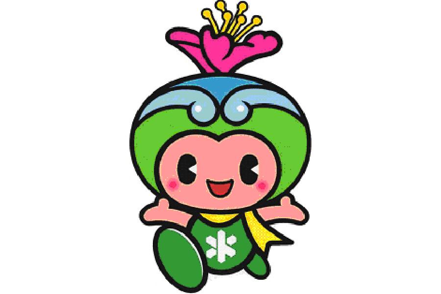 富田林市のキャラクター、とっぴー。市の花であるつつじの髪飾りをつけ、緑や川で田園都市をイメージ