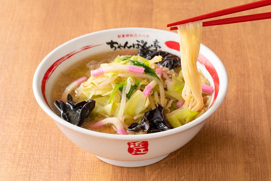 まろやかであっさりとした味わいのスープが特徴の「近江ちゃんぽん」