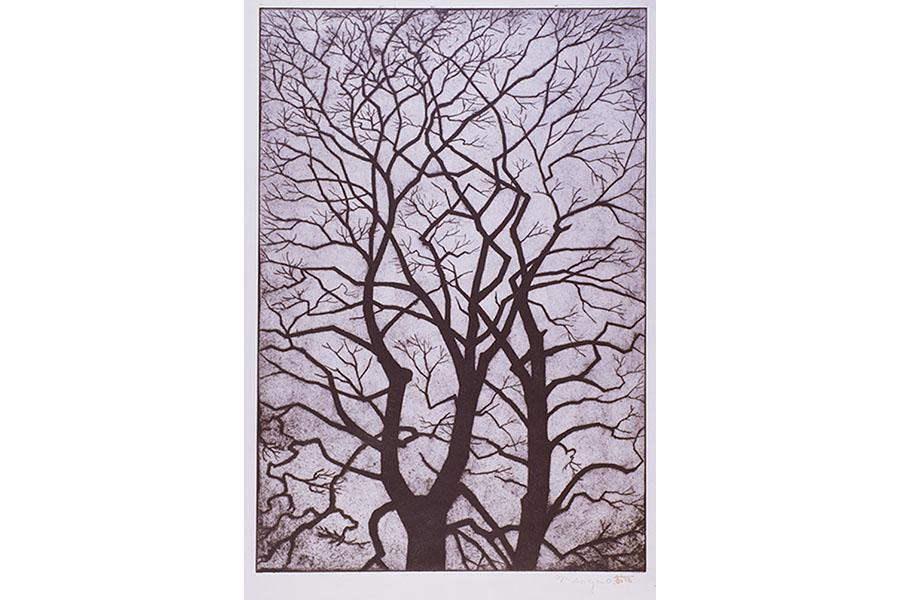 曽我尾武治《梢》1963 エッチング、紙 和歌山県立近代美術館蔵(『もようづくし』展示作品)