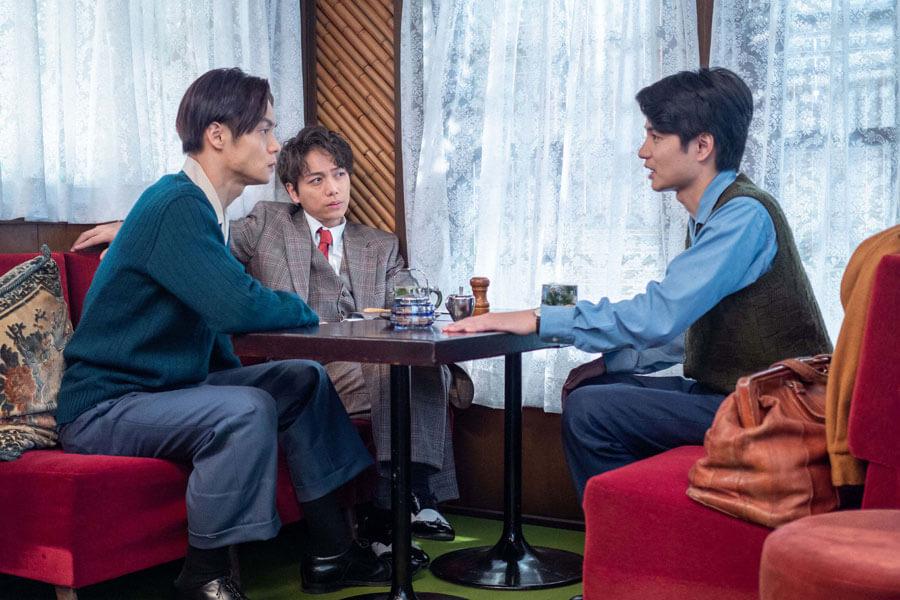 第41回より、久しぶりに顔をあわせる裕一(窪田正孝)、久志(山崎育三郎)、鉄男(中村蒼)(C)NHK